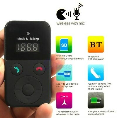Bluetooth Hands-Free Car Kit FM Transmitter USB SD Card MP3 Player with Remote