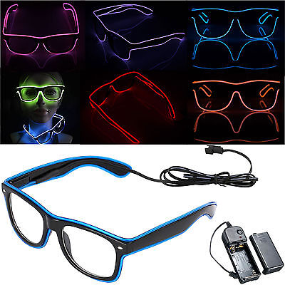 El Wire Neon LED Light Up Glow Eyewear Shades Shutter Shaped Glasses Club Party