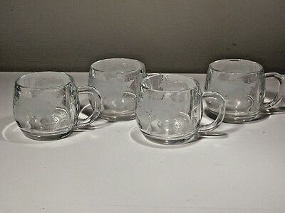4 Nestle World Globe Etched Mugs Excellent