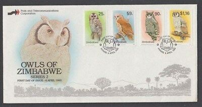 ZIMBABWE 1993 OWLS 2nd ISSUE FDC SET (4) STAMPS (ID:677/D42773)