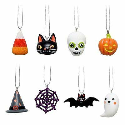 Halloween Mini 8 pc Ornament Set Ghost Bat Pumpkin Corn Web Hat Cat Sugar Skull