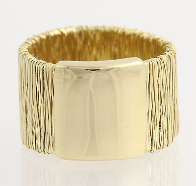 Modern Gold Cocktail Band - 14k Yellow Gold Ring Flexible Thread Design Size 8.5