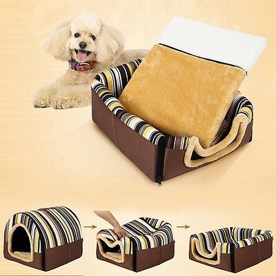 New Pet House Indoor Dog Cat Kennel Dual Use Puppy Kitten Bed Sleeping Cushion
