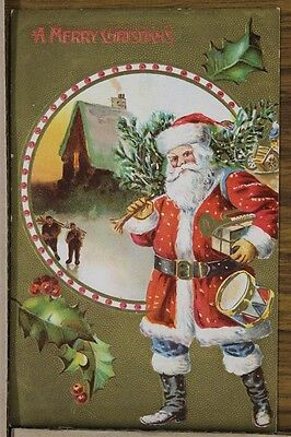 """ANTIQUE 1910's CHRISTMAS POSTCARD """"Embossed Santa & Toys Gold Gilt"""" UnPosted"""