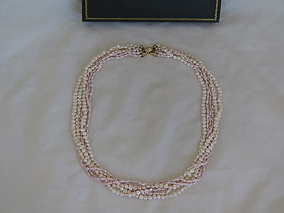"""Fantastic 22"""" Six-Strand Pearl Necklace with a Large 14K Gold & Diamond Clasp"""