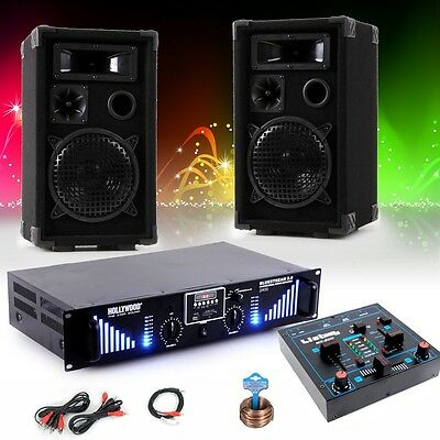 2400W PA Party DJ Music System 3-ways Speakers USB MP3 Amplifier Mixer Cable