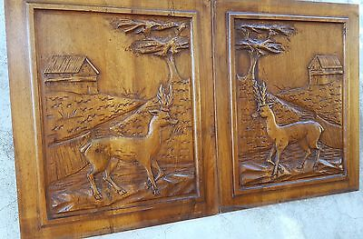 PAIR DEER HUNTING WALNUT PANEL 19.69 in ANTIQUE FRENCH HAND CARVED WOOD PEDIMENT