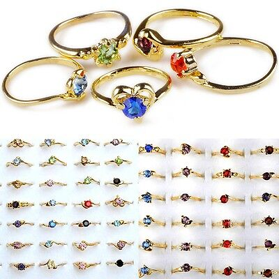 50pcs Wholesale Jewelry Lots Mixed Colors Zircon Crystal Rhinestone Gold P Rings