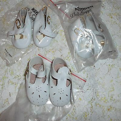 "VINTAGE 3 pair DOLL SHOE lot white KEMPER  2 5/8"" X 1 1/4"" sized"