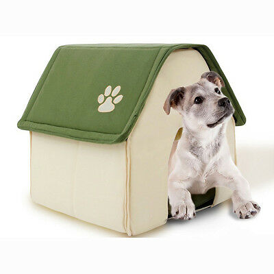 New Pet House Foot Print Indoor Dog Kennel Foldable Cat Resting Bed Green/Red