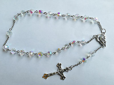 1pcs AB 8MM Glass Bead Rosary Crucifix Catholic 2-Decade Chaplet Bracelet