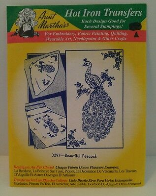 Hot Iron Transfers AUNT MARTHA'S 3297 BEAUTIFUL PEACOCK embroidery NEW/SEALED