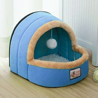 New Pet House Comfy Soft Dog Kennel Hanging Ball Cat Playing Bed Cushion 4 Color