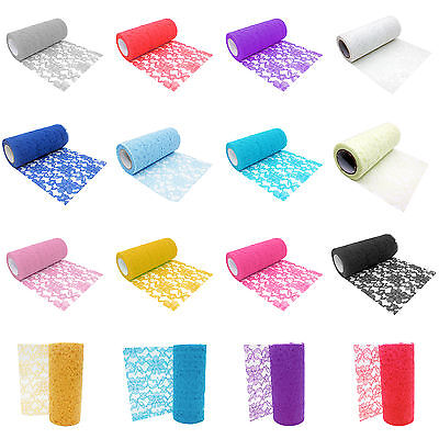 10 Yards 6'' Wedding Home Floral Lace Roll Table Runner Chair Sash Vintage Decor