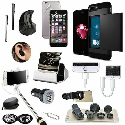 Case Cover+Bluetooth Earphones+Monopod+Fish Eye Accessory Bundle For iPhone 7