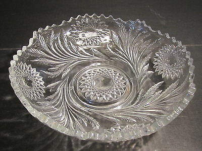 "Millersburg Crystal Hobstar & Feather Pattern 9.5"" Ice Cream Shaped Serving Bowl"