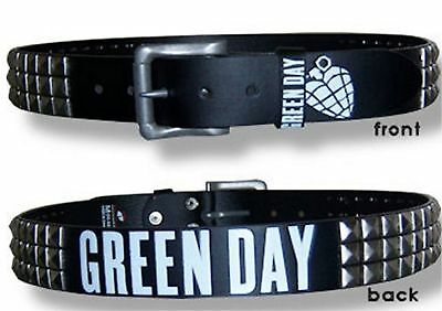 Green Day White Heart Studded Black Leather Belt New Large