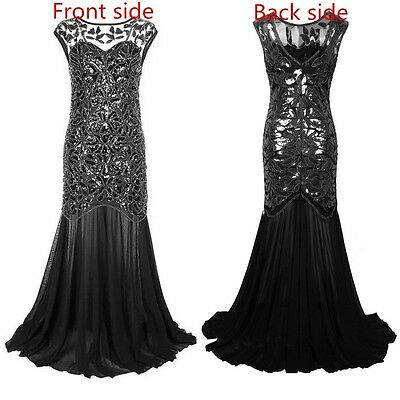 US 1920s Vintage Flapper Dress Gatsby Charleston Sequin Prom Party Formal Dress