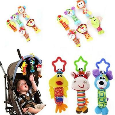 Handbell Kids Baby Educational Toys Hanging Cartoon Animals Pram Bed Plush Toys