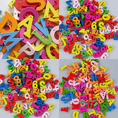 50/100/200X Letters Numbers Wooden Beads Flatback Embellishments Crafts Durable