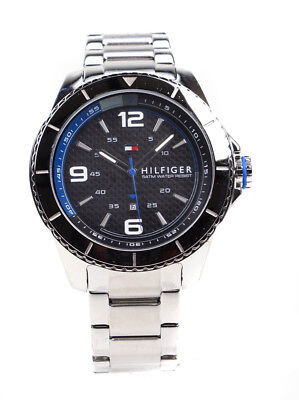 Tommy Hilfiger Ash 1791002 Black Carbon Fibre Dial Stainless Steel Mens Watch