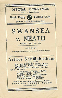 Neath v Swansea 3 May 1948 RUGBY PROGRAMME