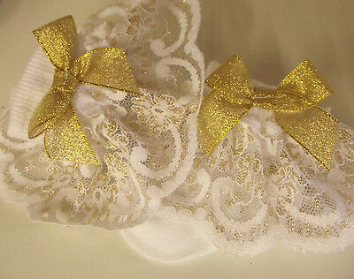 DREAM BABY GOLD LACE TRIM  ROMANY FRILLY SOCKS ALL SIZES available or reborn