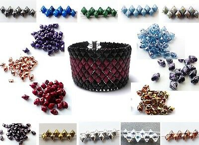 5mm TWO HOLE CZECH GLASS VARIO DIAMOND DUO BEADS - 28 COLOURS - 5G (APROX 50PCS)