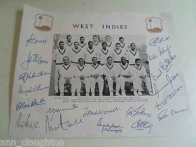 Vintage Printed Photograph WEST INDIES Cricket Team + Printed Signatures