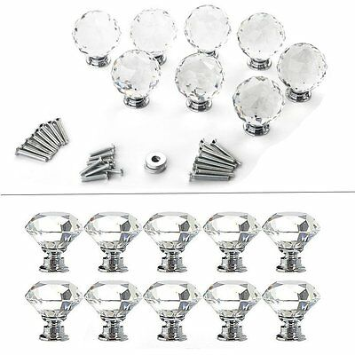 10/20/30 PCS Clear Crystal Glass Door Knobs Drawer Cabinet Furniture Handle Knob