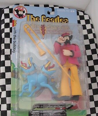 McFARLANE TOYS -THE BEATLES SERIES 2  JOHN WITH THE BULLDOG  NEW OLD STOCK