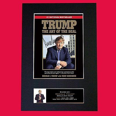 DONALD TRUMP Signed Autograph Mounted Photo REPRODUCTION PRINT A4 632