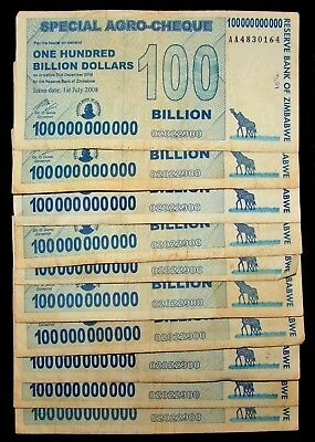 10 x Zimbabwe 100 Billion dollar agro cheque banknotes