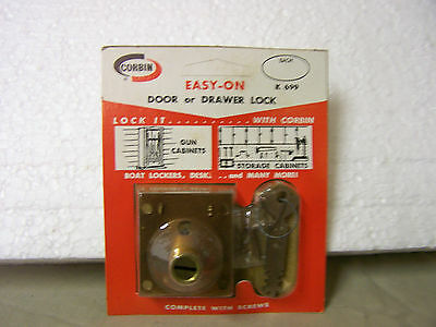 Cabinet/Drawer Lock with 2 Keys Vintage Corbin #K 699 Lock Made in USA