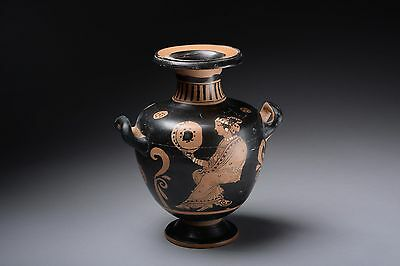 Ancient Greek Paestan Red Figure Pottery Hydria - 350 BC