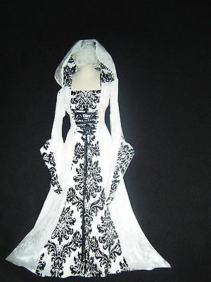 Medieval Renaissance Hooded Wedding Dress Gown Costume. Snow Queen S-Xl