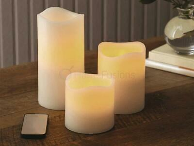 Set Of 3 Ivory Flameless Led Candles With Remote Control Wax Mood Pillar Candle