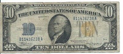1934A NORTH AFRICA Emergency $10 Silver Certificate Note;  Circulated Note
