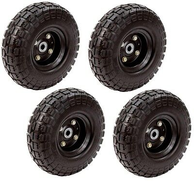 Flat Free Tires 4-pack Utility Cart 10 in. replacement airless wheel garden NEW