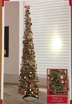 NEW!! Winter Wonderland GOLD & Multicolor Tinsel CHRISTMAS TREE 5ft Tall
