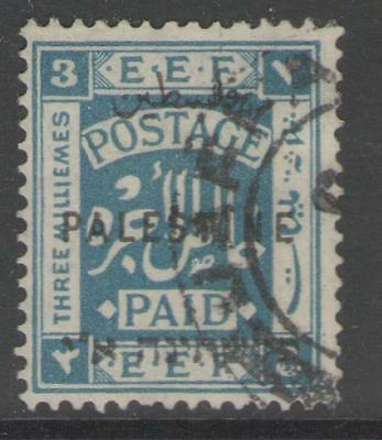PALESTINE SG73 1922 3m GREENISH BLUE FINE USED