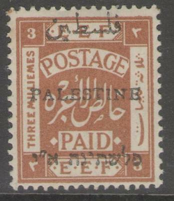 PALESTINE SG44 1920 3m YELLOW-BROWN p15x14 MTD MINT