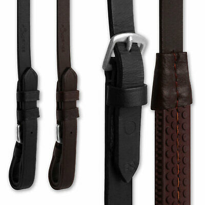 Finest Imported Leather Horse Riding Rubber Grip Reins - Black & Brown Cob Full
