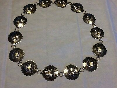 Vintage Silver-Tone Metal Concho Chain Link Belt Stamped Medallions