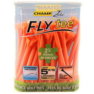Champ Fly Tees 30 x 69mm Long Less Friction Crown Heads More Distance Orange New