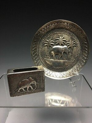 Pair Of Colonial Indian Sterling Silver Smoking Articles Tray & Cigarette Box