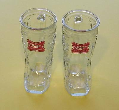Miller High Life Clear Glass Cowboy Boots With Handles-Set oF 2