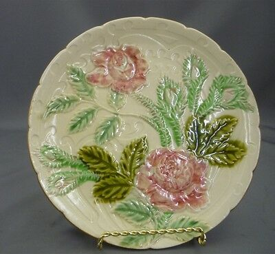 """Antique Majolica Flower Polychrome Monochrome Plate Roses Flowers Leaves Buds 8"""""""