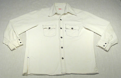 Vintage LEVI'S Heavy Shirt Jacket (70s) White DISCO! MUST SEE! WOW! XL