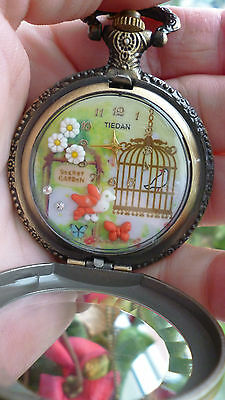 handmade vintage engraved  clay necklace pendant watch bird cage  daisy